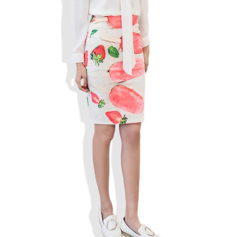 217b886eb Vintage mujeres lápiz falda de cintura alta patrón de hielo Bodycon señoras  faldas impresión fresa falda lápiz delgado faldas S-5XL
