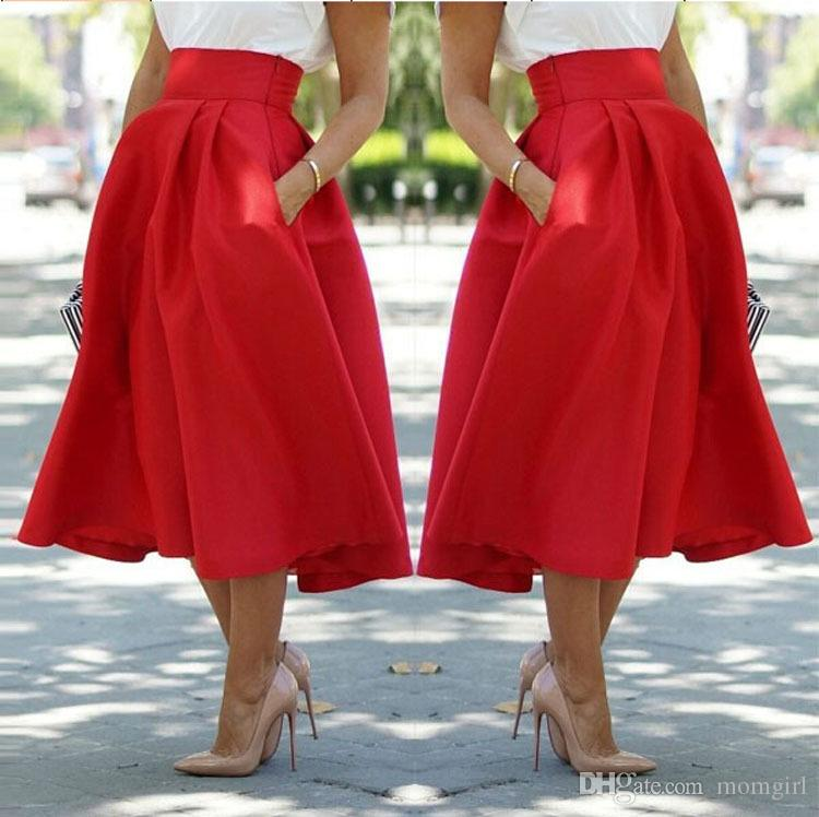 Women Fashion Skirts Solid color All seasons Lady Elegant Party Skirt Red Black Tutu Skirts 6size