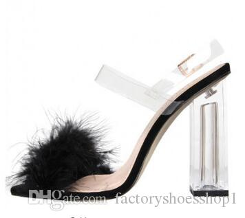2018 Pink Open Toe Hairy Feather Design Women Sandals Walkway Thick High Heel Wedding Chaussures Femmes Pvc Transparent Sandals