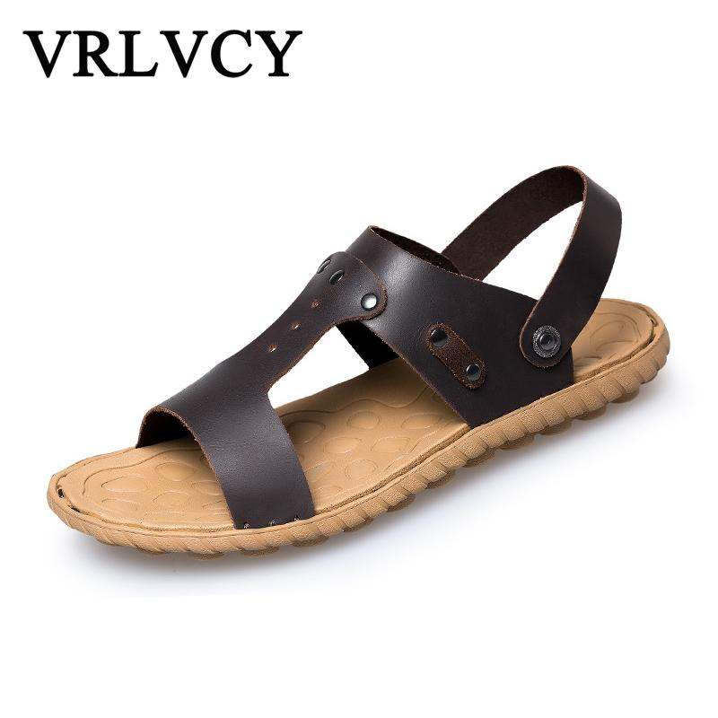 c34ede65a3e8 Summer New Men s Sandals Hand-made Roman Style Leather Casual Shoes ...