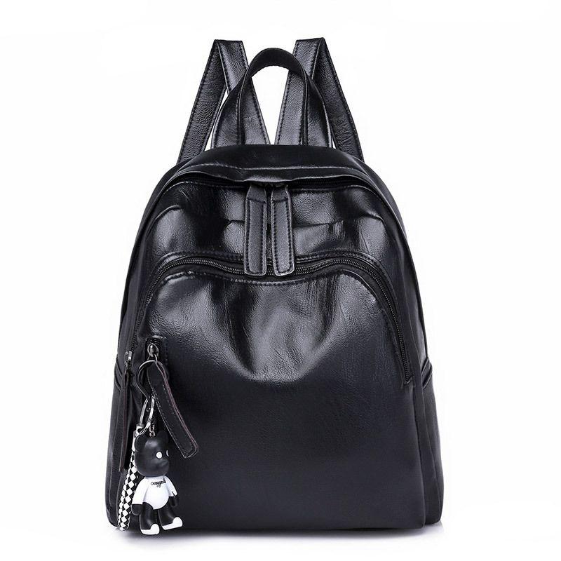 c6d7a30389 Fasion PU Leather Backpacks For Teenager Girls Zipper Female Backpack High  Quality Casual Women Black Backpacks School Bags 2018 Swissgear Backpack  Swiss ...