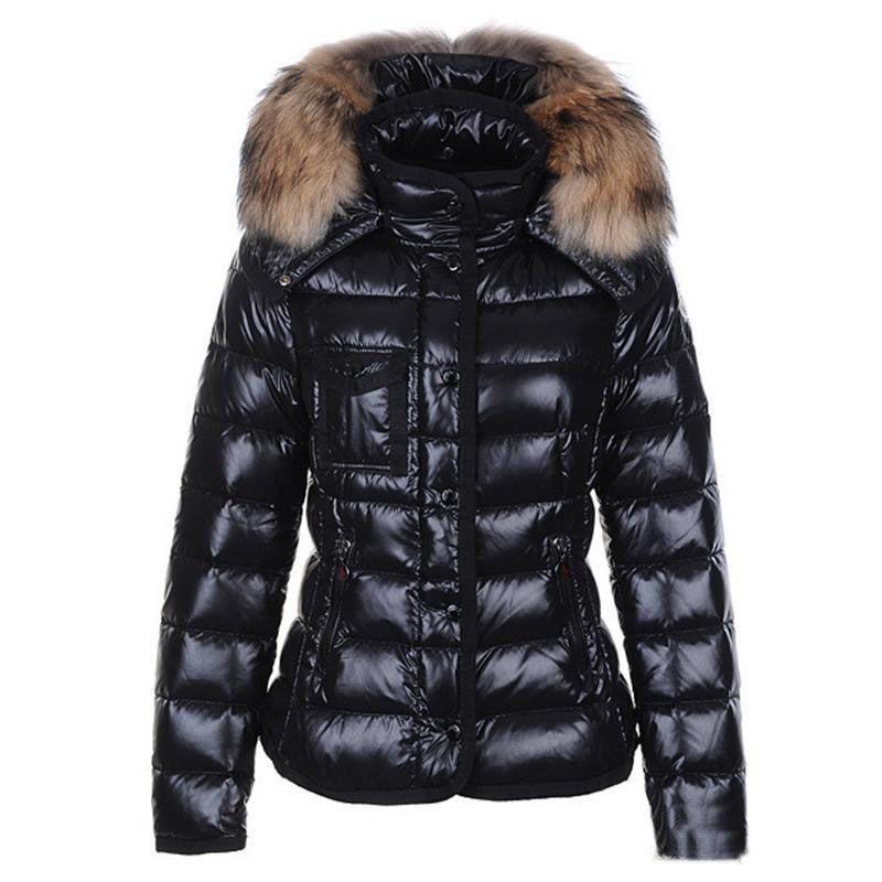big sale c0d68 11569 logo M Giacche invernali donna nero 90% bianco piumino d anatra con  cappotti di pelliccia di procione con cappuccio bianco rosso vestiti  pensatore ...