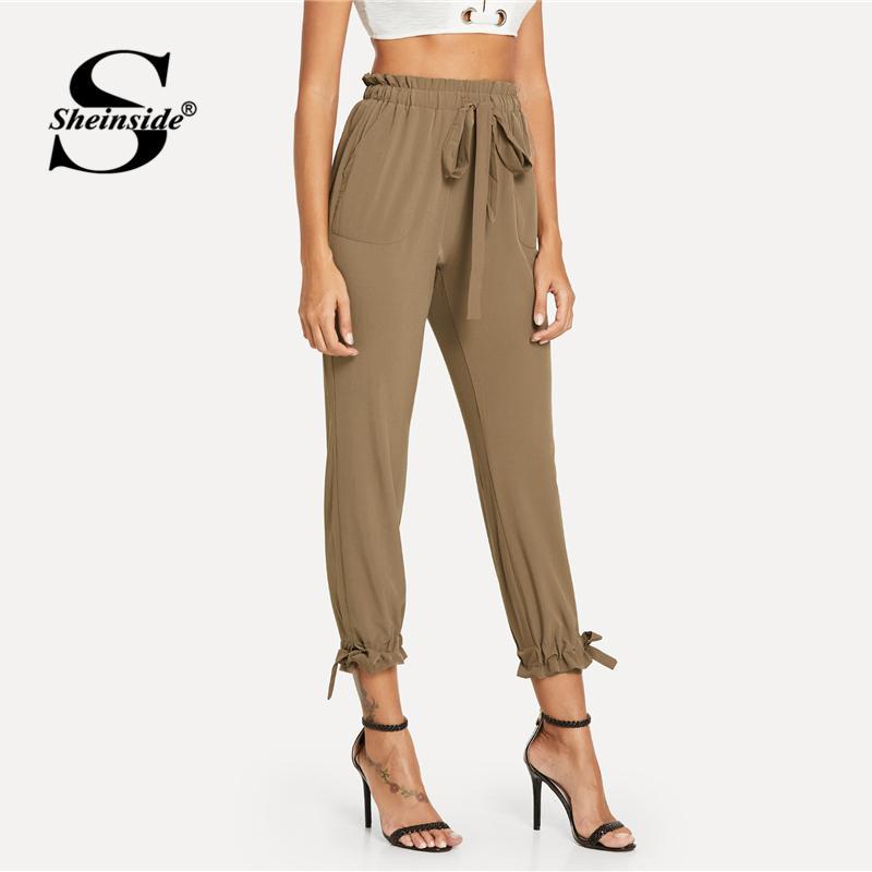 Sheinside Oficina Cónicos Volantes Para Marrón Cordón Cintura Bolsillo De Mujer Otoño Nudo Pantalones Trabajo Llanura Con ZuikXP