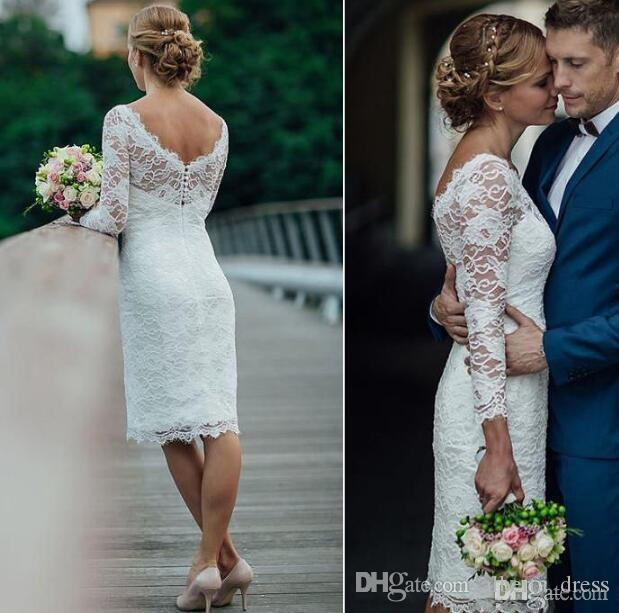 Summer 2019 Short Wedding Dresses Knee Length Simple White Ivory Short Sheath Wedding Dresses Bridal Gowns