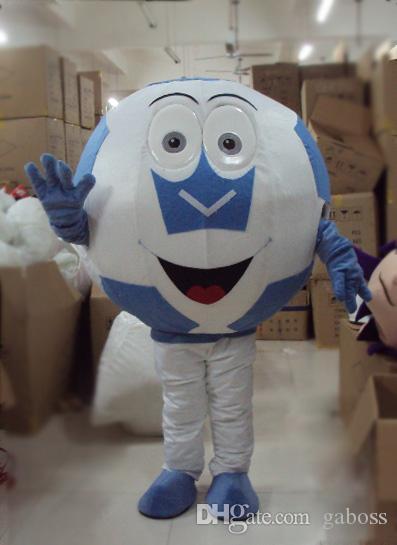 성인 대형 파란색과 검정색 할로윈 푸림 파티 이벤트를위한 축구 마스코트 의상 축구 마스코트 의상