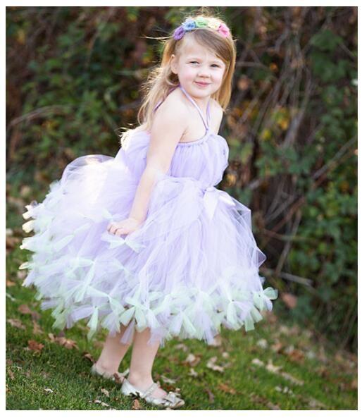 04357b47d2a 2018 Tulle Halter Christmas Party Gowns Lavender Fairy Wedding Flower Girl  Dresses Ball Gown Girl Kids Formal Wear Princess Girl Dresses Lavender  Flower ...