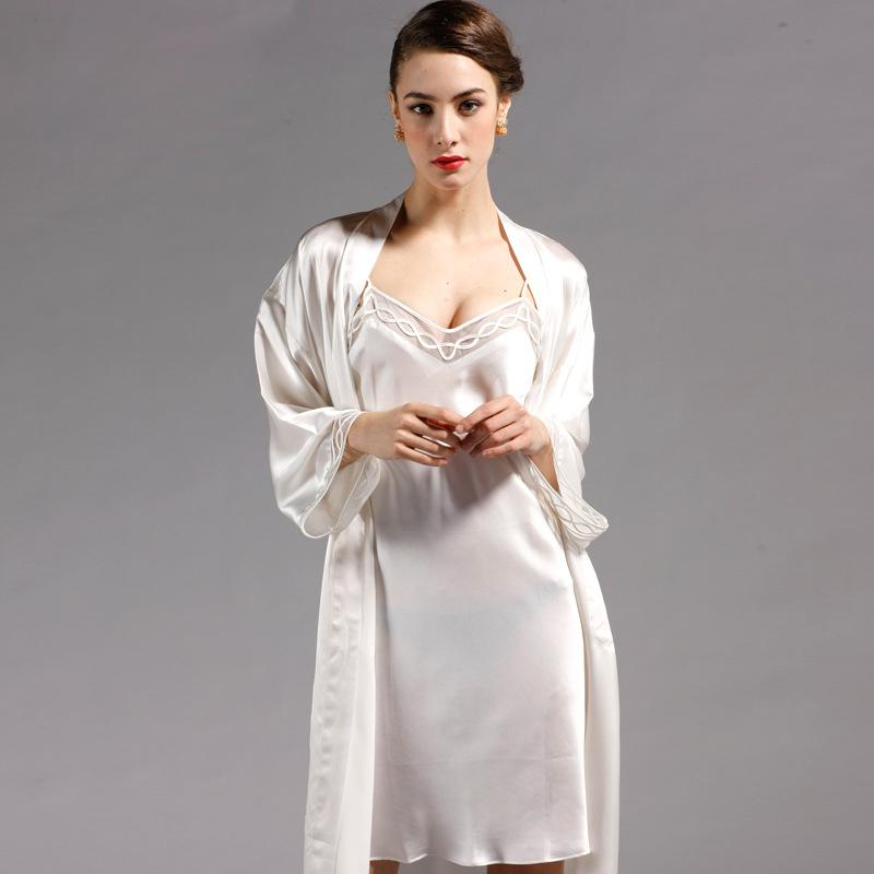9cb81d808f 2019 100% Pure Silk Robe Sets Women Sexy Sleepwear Home Dresses REAL SILK  Bathrobes Nightie Spring Summer Style 2018 NEW From Beimu