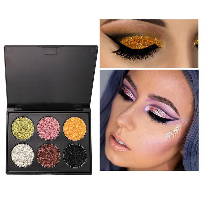 Professional Diamond Shimmer Eyeshadow Palette Glitter Makeup 6 Colors Waterproof Glitter Pigment Eye Shadows Powder Cosmetics