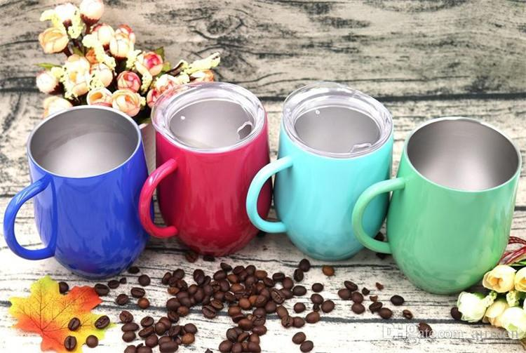 9oz wine glasses Stainless Steel Mugs 9oz cups Travel Vehicle Beer Mug non-Vacuum mugs with Lids