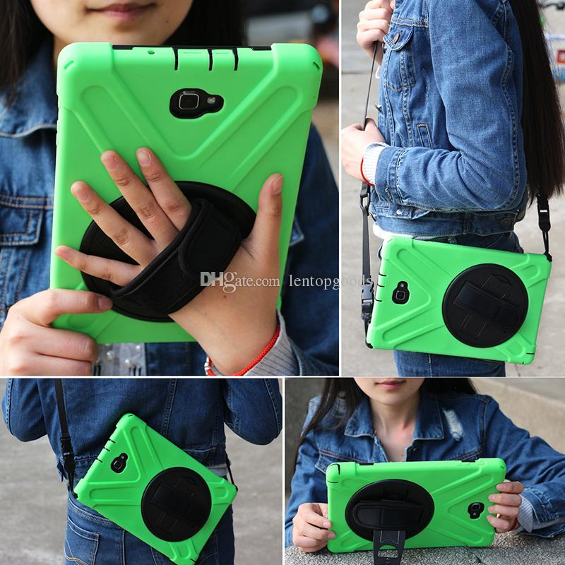 360 Rotating Kids Safe Shockproof Heavy Duty Silicone Hard Cover kickstand + Wrist Strap for ipad 2 3 4 5 6 air mini 4+Pen