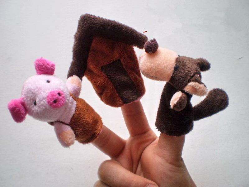 Three Little Pigs Finger Puppet Children Educational Fairy Tale Story Telling Plush Figer Toys Puppet