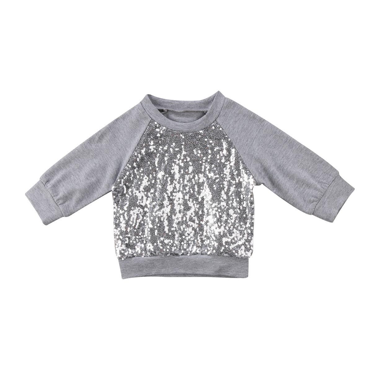 Moda Família Combinando Roupas Mulheres Bebê Recém-nascido Roupas de Menina Top De Lantejoulas Manga Longa Quente Top T-shirt Hoodies Roupas