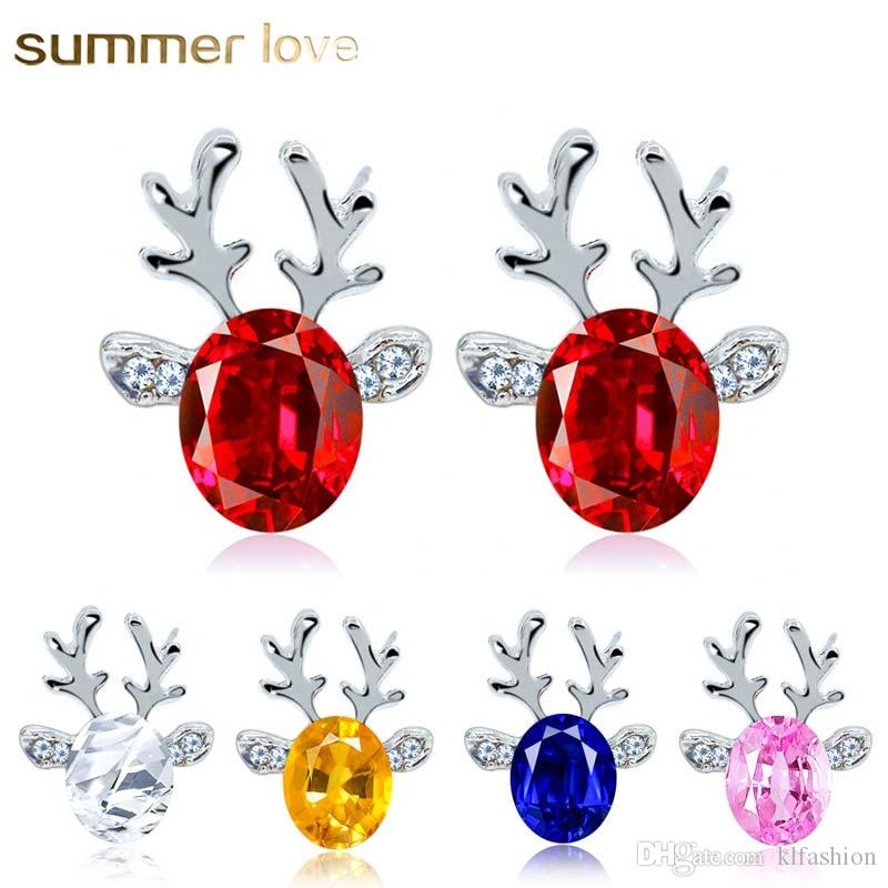 bbaf38b75b New Arrival Crystal Christmas Reindeer Stud Earrings for Women Kids Red  Blue Pink Color Alloy Lovely Jewelry Christmas Gift