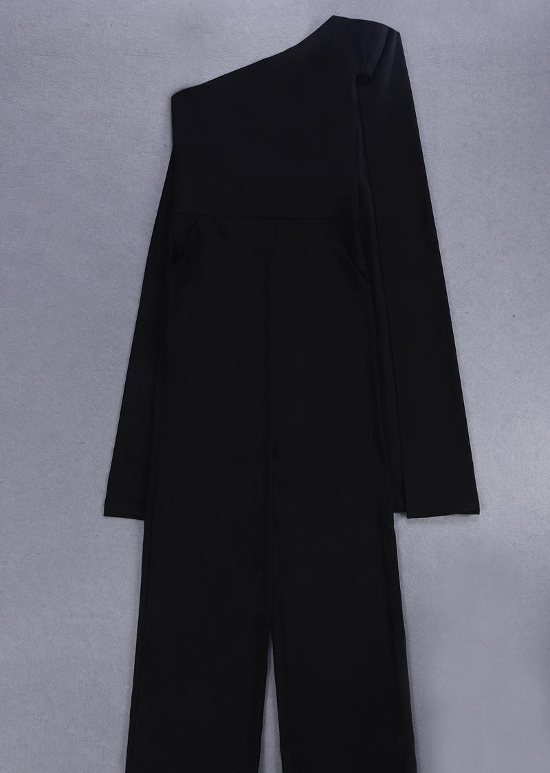 Fashion Black White One Shoulder Summer Jumpsuit 2018 High Quality Bodycon Solid Elegant Evening Party Jumpsuits