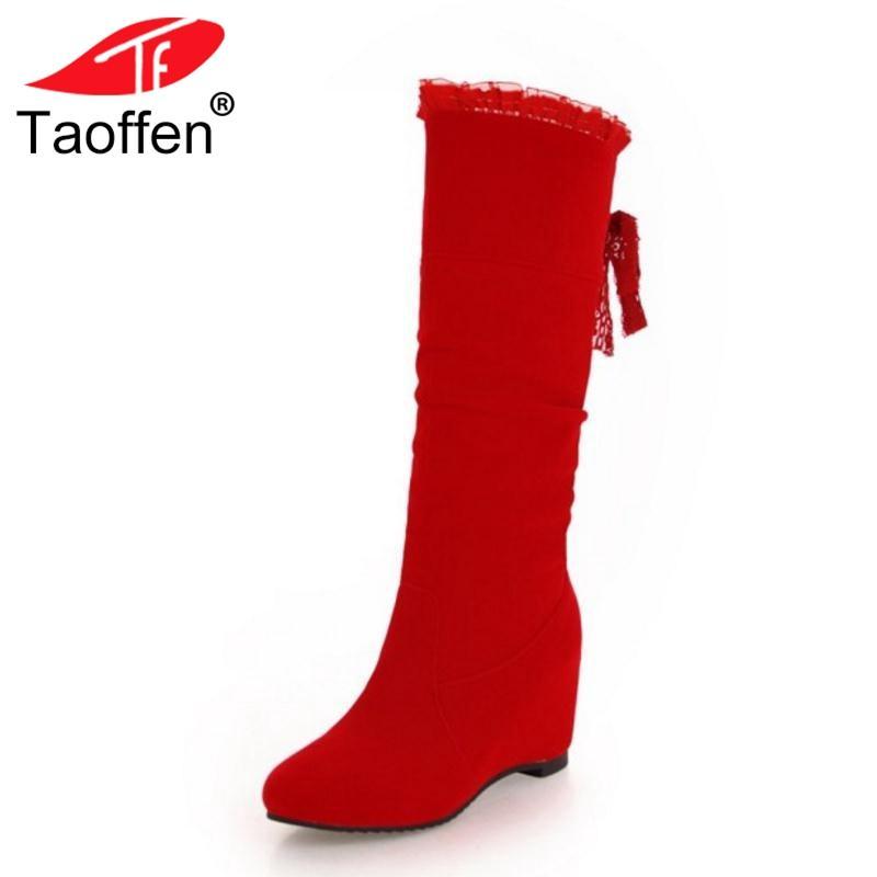 Chaussures Longues TAOFFEN Bottes Mollet Femme Dos Mi Bowknot L'intérieur Taille Du Femmes Talon Sangle Chaud Chaussures Bottes D'hiver À 31 45 CBoedx