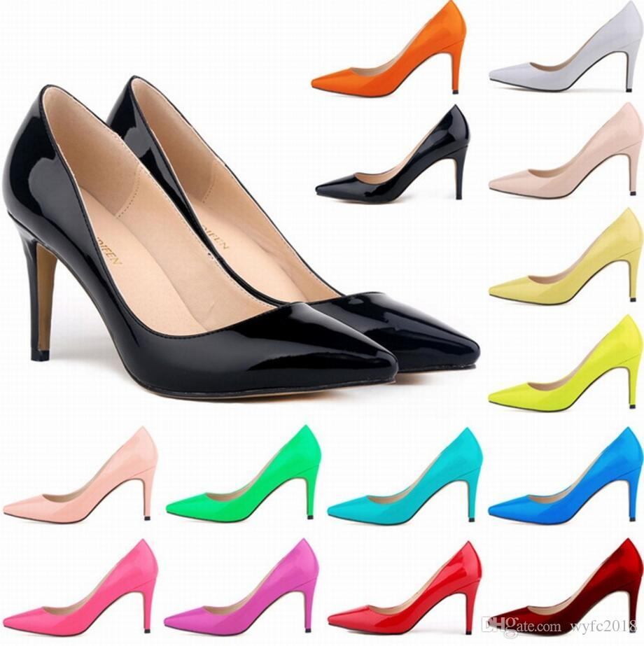 af083aa59f68 NEW Women Patent Leather Mid High Heels Pointed Corset Work Pumps ...