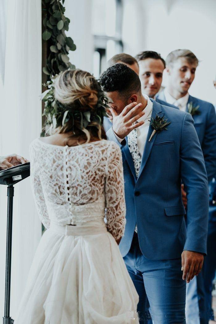 جميلة طويلة الأكمام ألف خط قطعتين شاطئ البلد فساتين الزفاف 2019 الشيفون الكشكشة الرباط الأعلى بوهو مخصص بثوب الزفاف البوهيمي