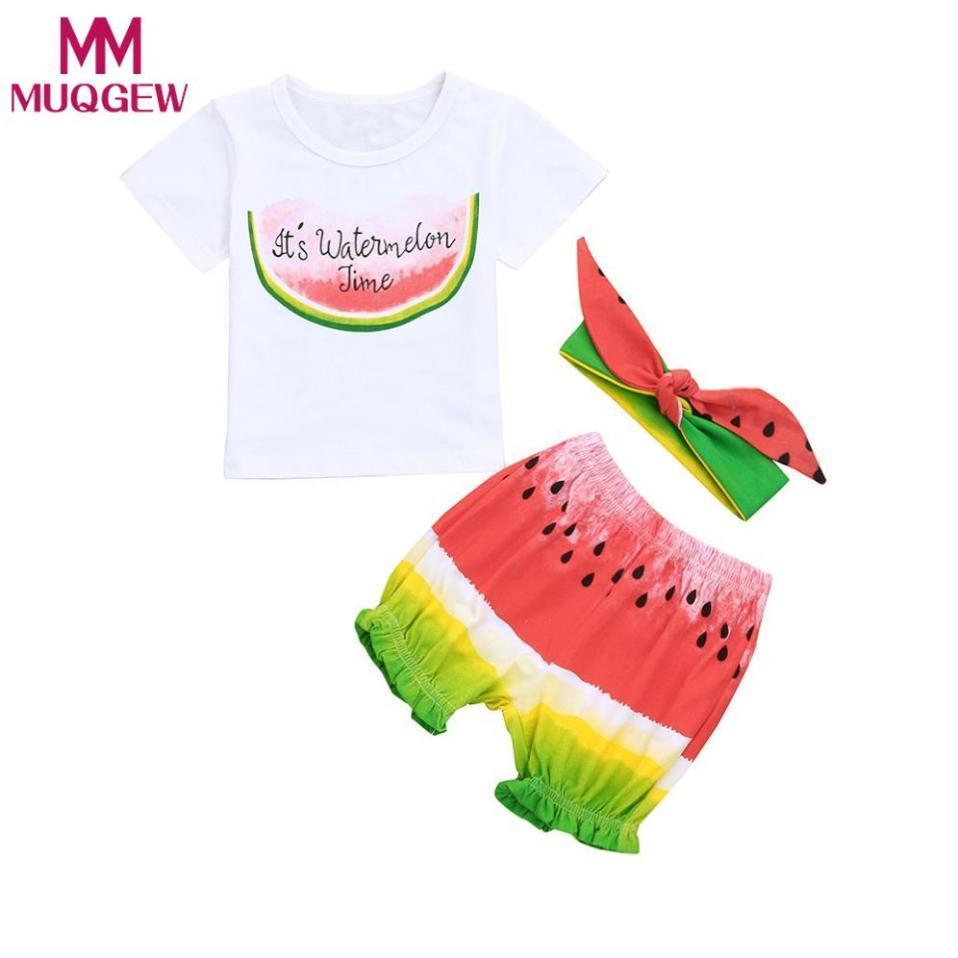 44340015d MUQGEW Baby girls clothes summer 3pcs T-Shirt+pants+headband Watermelon  2018 Baby Girls Boys Letter Print Tops Shorts Outfit Set