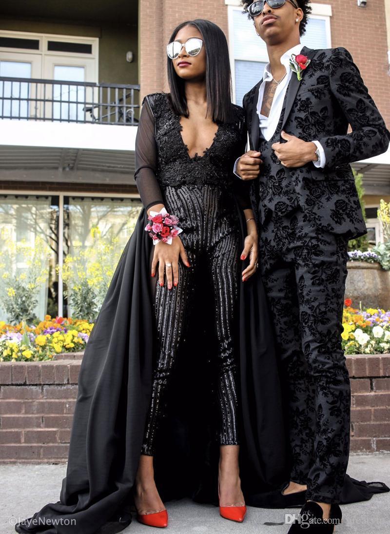 2019 Новая мода платья выпускного вечера комбинезоны с V-образным вырезом бисером брюки черные вечерние платья плюс размер Vestidos De Fiesta