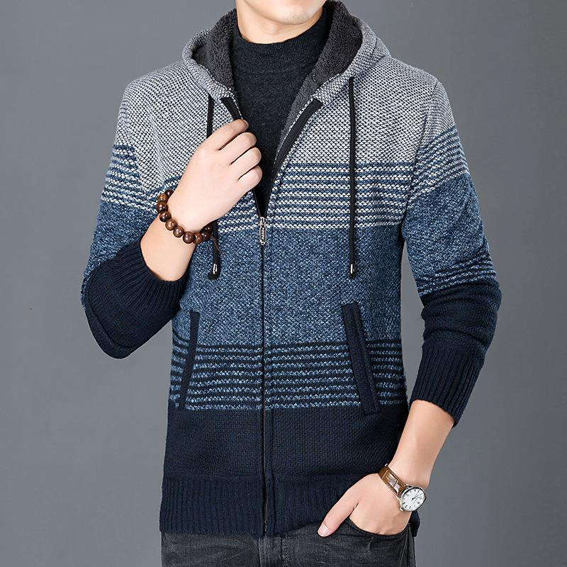 Hoodies Sweater Men Cardigan Camisa Masculina Mens Slim Fit Hooded Knit Sweater Fashion Cardigans Plus Velet Coat Knitted Jacket