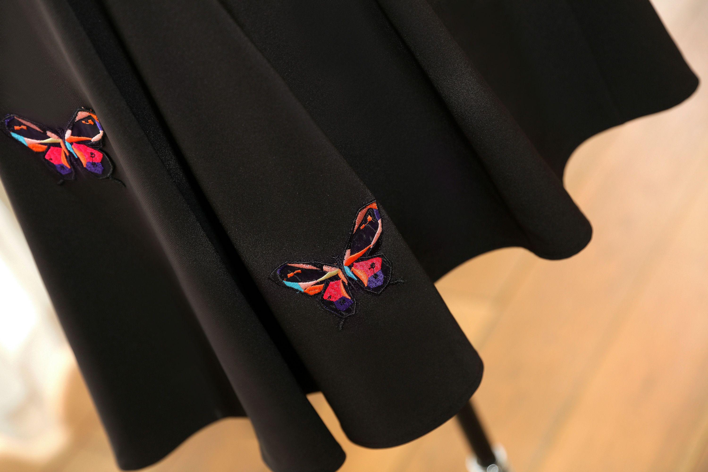 Lebanon Women Short Evening Dresses Plus Size Embroidery Black Short Sleeve Satin Engagement Dress Knee Length A-Line Formal Wear Party Gown