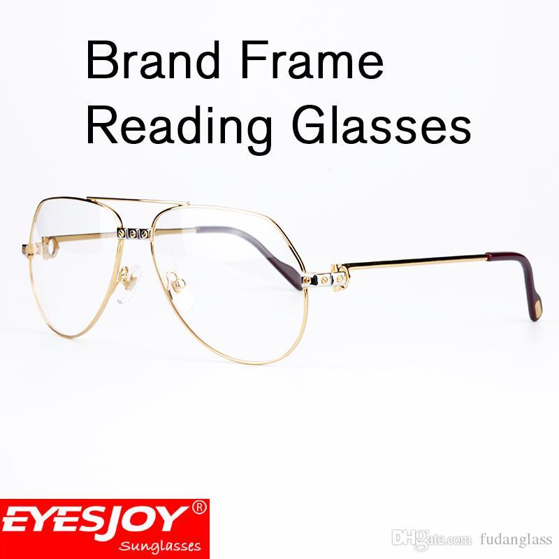 Men Women Reading Glasses Gold Brand Frame Brand Designer Eyeglasses ...