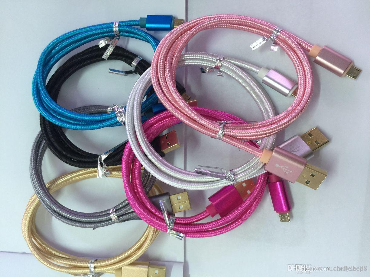 High Speed Colorful 1m 2m 3m Metal Braided Weave Micro V8 Usb Cable Wiring Phone Extension Durable Fast Charging And Type C For Samsung S7 S8 Plus Cheap Cables