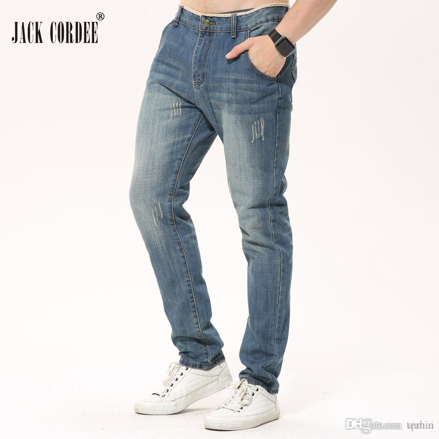 14a3fb3fe5143 Compre JACK CORDEE Marca Retro Jeans Rectos Hombres Ocasionales Delgados  Pantalones De Mezclilla Clásicos Jean Pantalones Para Hombre Azul Negro  Jeans Más ...
