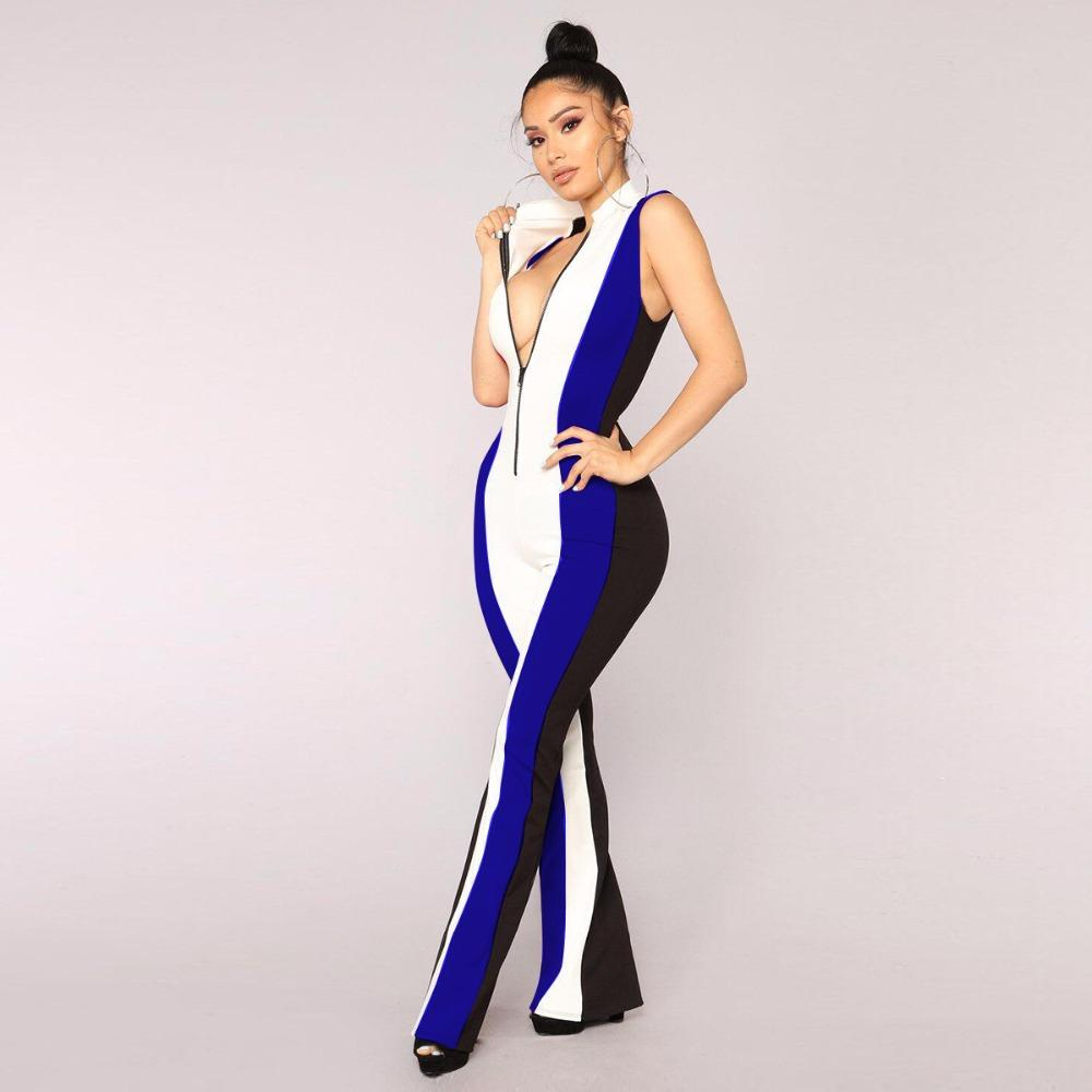 388b801e17f2 2018 Overalls Outfits Patchwork Jumpsuits Summer Women Fashion ...
