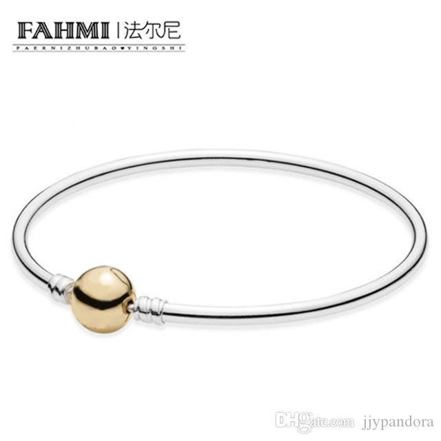 3ef9fba3f FAHMI 100%925 Standard Sterling Silver CharmSilver Bangle Bracelet with Gold  Clasp Snake Chain Link Hand Bangle Bracelet Jewelry 590718 Online with ...