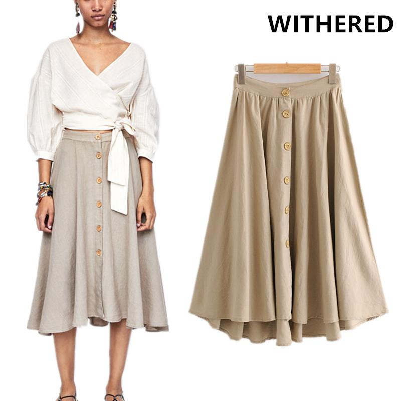 83196f2b0a6 2019 Withered Skirt Women England Style Cotton And Linen Ruffles A Line  Midi Skirts Women Long Skirt Plus Size Faldas Mujer Moda 2018 From Pingpo
