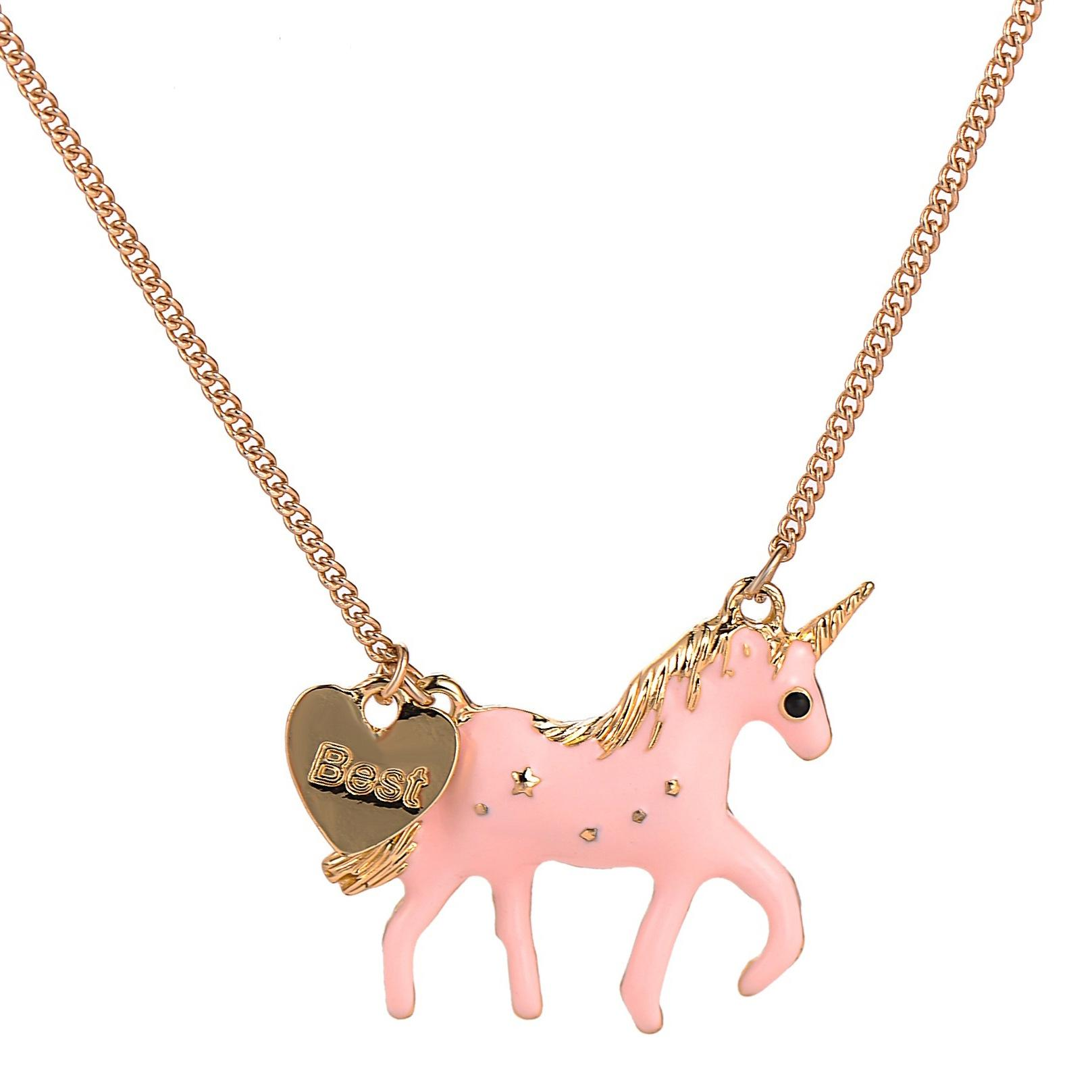 8d8f64f784867 Pink unicorn necklace girls women gift gold plated pendant unicorn pony  necklace fashion kids jewelry NNA550