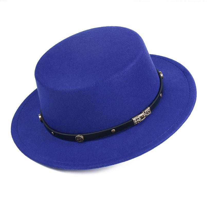 1cd98364de886 Vintage Men Women Wool Blend Bowler Cap Flat Top Hat Wide Brim Boater  Sailor Cap Pork Pie Hat Black Belt With Metal Mens Straw Hats Mens Hat  Styles From ...