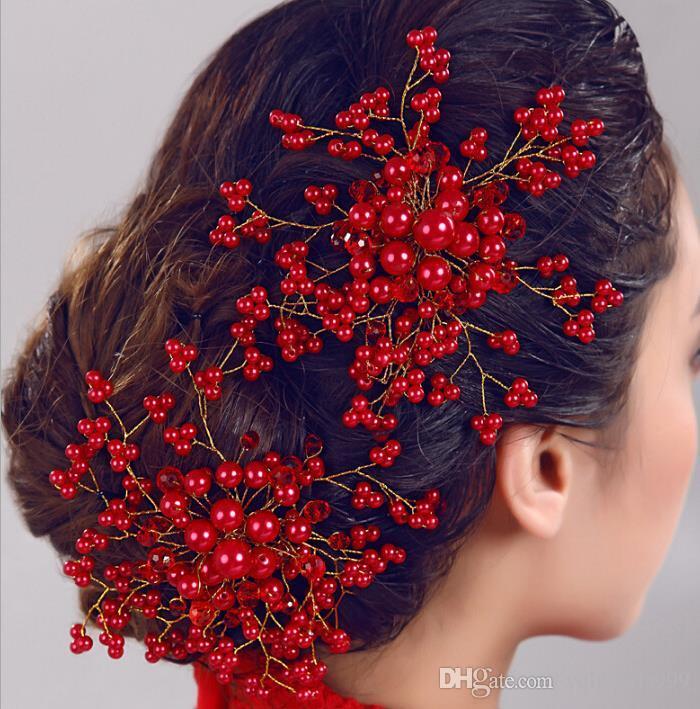 Gelin headdress el yapımı Kristal İnci Çiçek Inci tarak saç Kore düğün