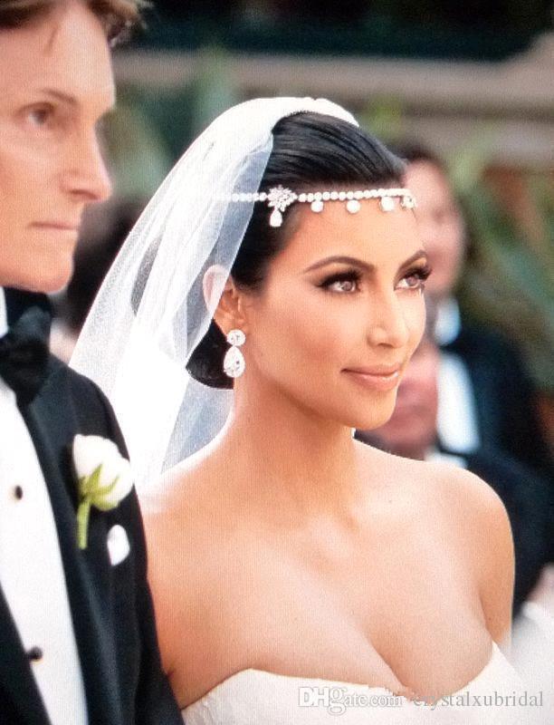 2018 Barato Kim Kardashia Hot Casamento Nupcial Jóias Cabelo Tiaras Headbands de Cristal Headwear Corona Rhinestone Acessórios Para o Cabelo Do Casamento