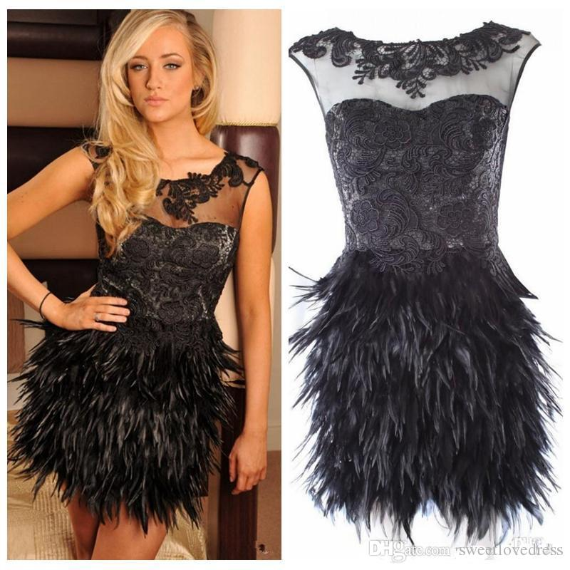 Sexy Sheer Neck Short Black Cocktail Dress Feather Skirt Short Lace