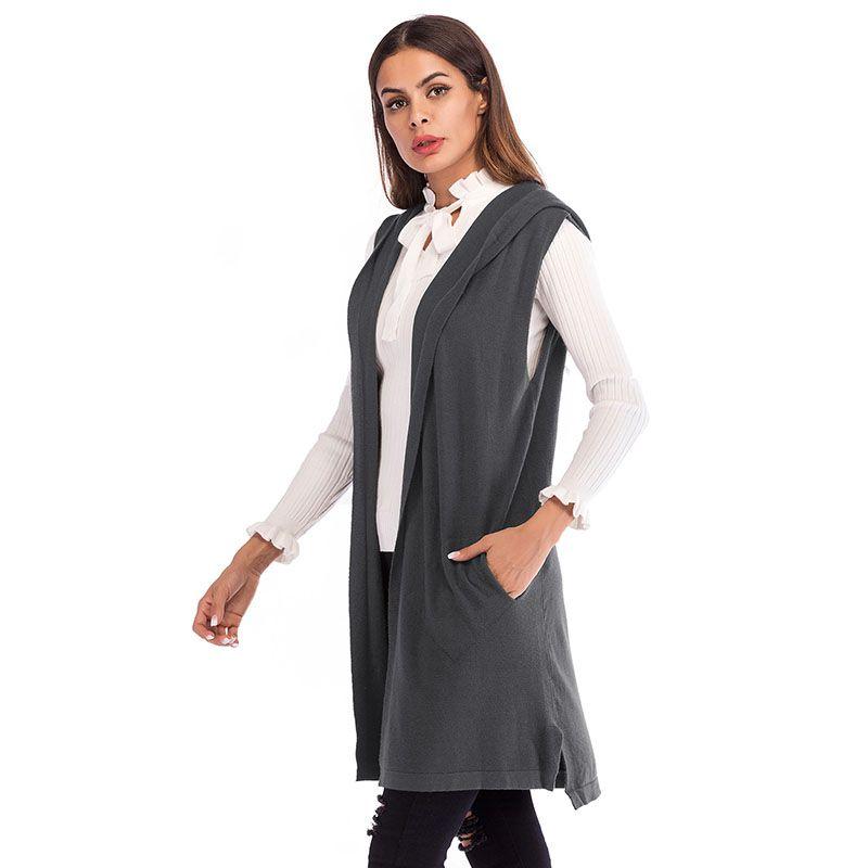 b844ee0fd Femmes gilet Long Style hiver Europe couleur unie sans manches cardigan  tricoté à capuche élégant femmes gilet chalecos para mujer