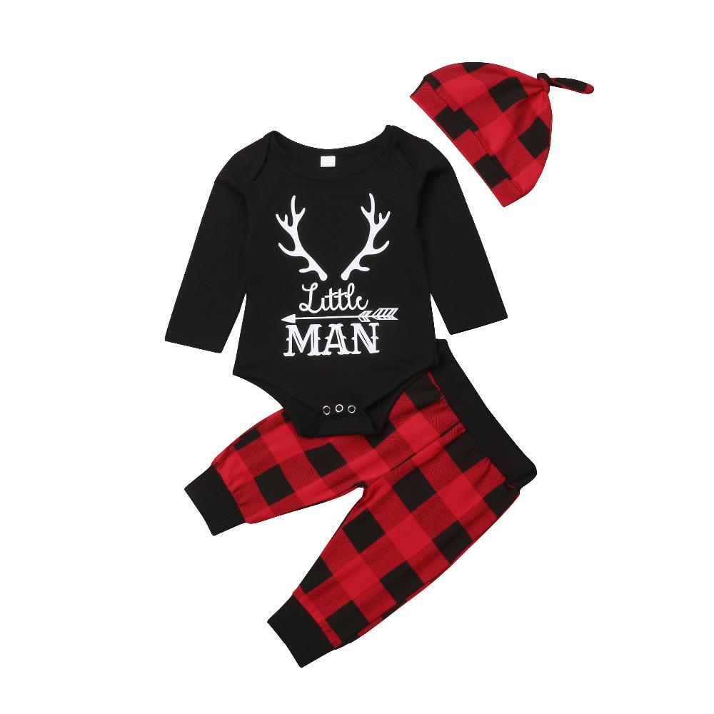 4c78ff6ec 2019 Newborn Baby Boy Xmas Man Black Clothes Jumpsuit Romper Red Plaid Pants  Hat Outfit Autumn Set From Laurul, $42.52 | DHgate.Com