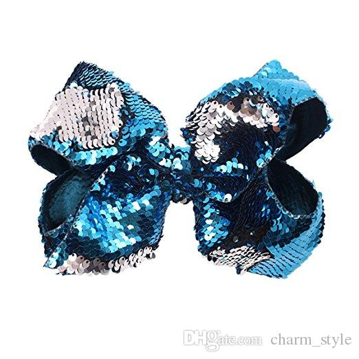 SALE 8 Inch Hair Bows For Girls Grosgrain Boutique Glitter sequins Bow Clips For Teens Kids Toddlers 4 Pack