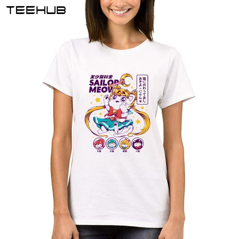 05f4e14a60fc5a Großhandel TEEHUB Sailor Moon Frauen T Shirt Heiße Verkäufe Lady Sailor  Meow Printed Tops Kurzarm Lustige Katze Klassische T Shirt Von Caicloth, ...