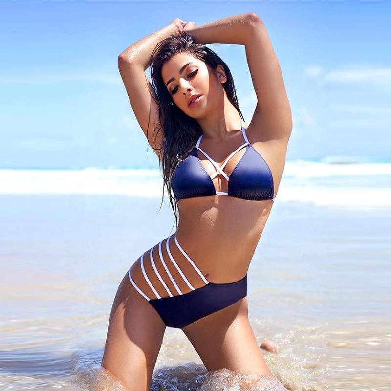 c2afa6a5ea Bikini 2017 Sexy Swimwear Women Cut out Brazilian Bikini Set Bandage Beach  Wear Swimwear Female Bathing Suits Swimsuits