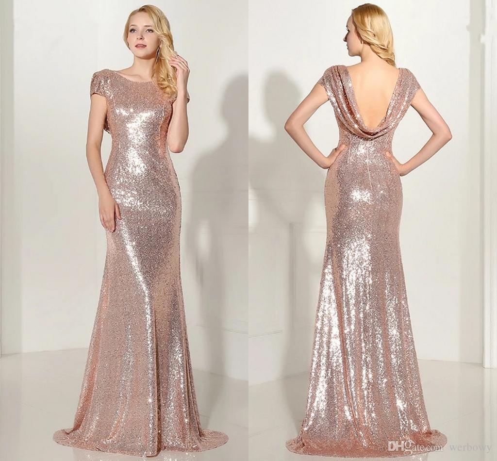 Sparkly Rose Gold 2019 Robes De Demoiselle D Honneur Sirène Pas Cher Manches Courtes Backless Long Beach Paillettes Robes De Soirée De Mariage