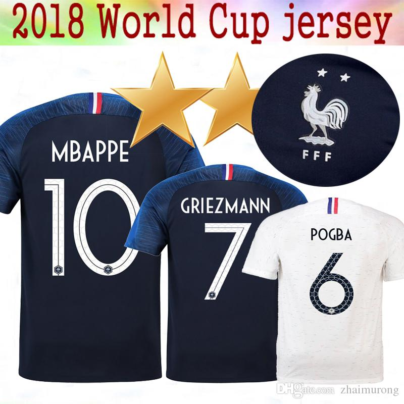 5c6bd5969f9 New 2 Star 2018 World Cup Jerseys POGBA GRIEZMANN PAYET KANTE Mbappe ...