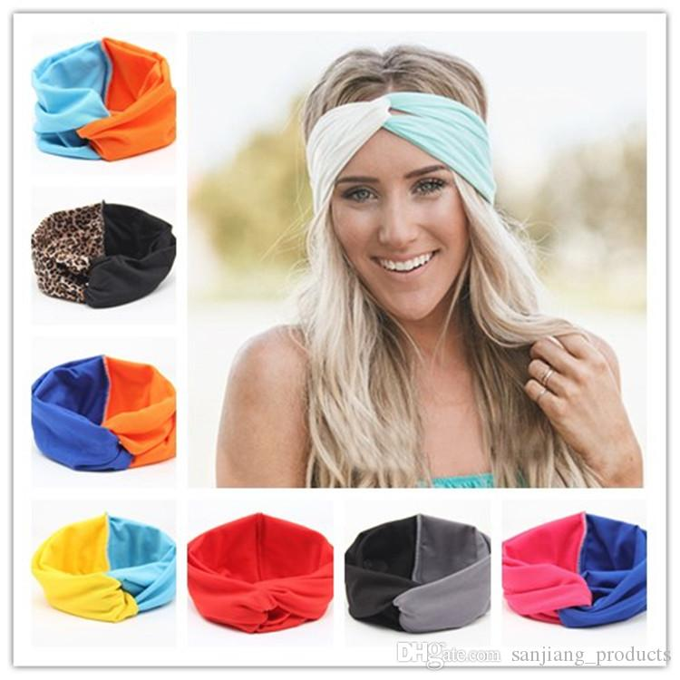 Women Girls Bohemia Headband Head Wrap Ear Warm Hairband Patchwork Color Cross Hair Band Hair Accessories Fashion Elastic Headwrap Hair hoop