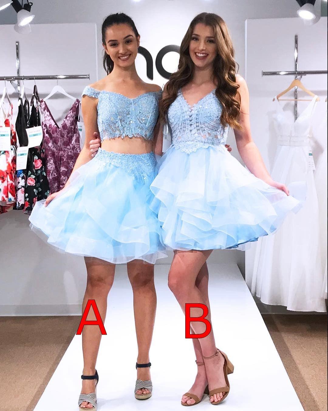 Nova Chegada do Bebê Azul Duas Peças Curtas Homecoming Vestidos de Baile Vestidos de Formatura Robes de cocktail Ocasião Especial vestido
