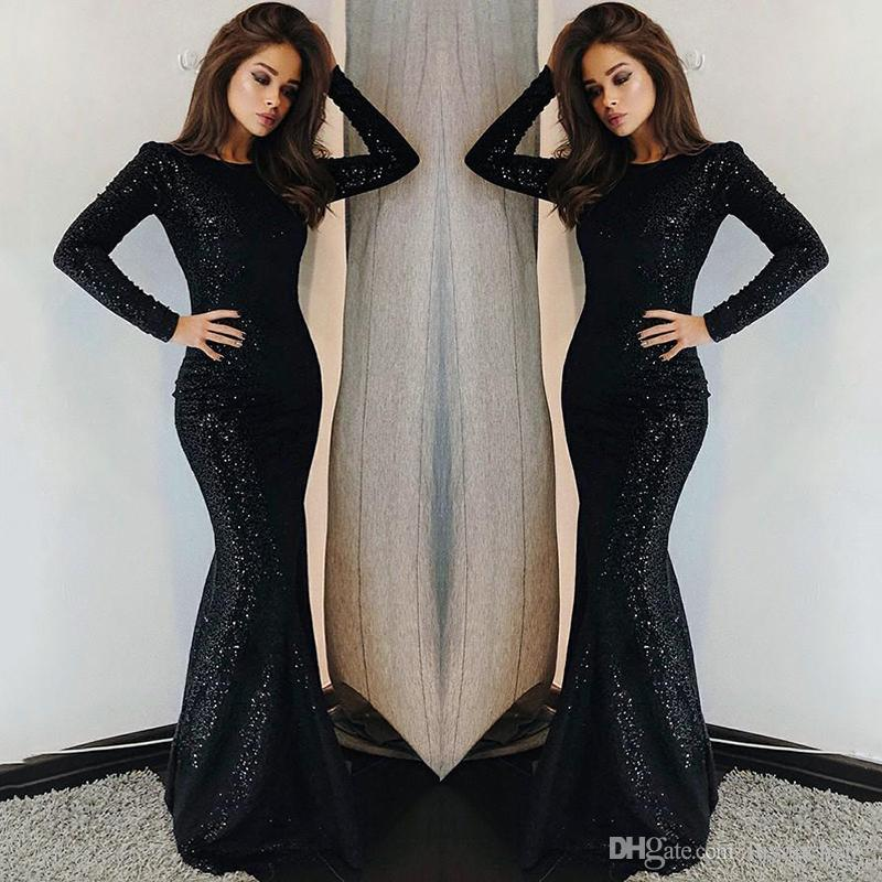 Sparkly Black Seuquined Celebrity Dresses 2019 Long Sleeves Evening Party Wear Gowns Women Formal Dresses Red Carpet Dresses for Ladies