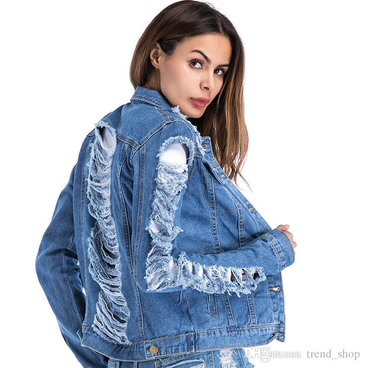 1e0f14ff87e 2018 Latest Women s Jacket Torn Wind Hole Denim Jacket Fashion Style ...