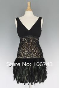 dress with fringes 2018 new low back short lace NEW SUE WONG BEADED LACE AND FEATHER 1920'S STYLE COCKTAIL DRESS