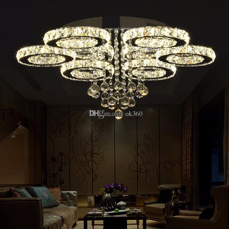 Modern LED Cristal Lustres de Luz de aço Inoxidável Cristal Lâmpada Do Teto para Sala de estar Quarto Hotel Anel de Diamante LED Lustres de iluminação Cromo