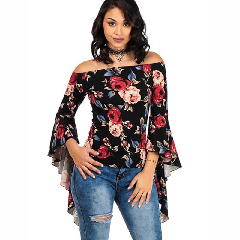 b6fd2cb66 Compre 2018 Nova Flor Mulheres Impressão Blusas Camisa De Manga Flare  Roupas Femininas Fora Do Ombro Casual Moda Feminina Encabeça Blusas De  Bestshirt005